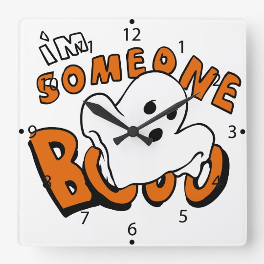 Boo - cartoon ghost - baby ghost - funny ghost square wall clock