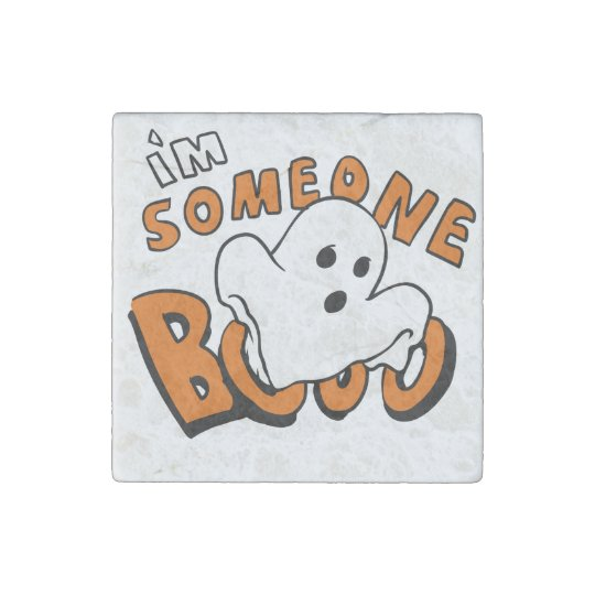 Boo - cartoon ghost - baby ghost - funny ghost stone magnet