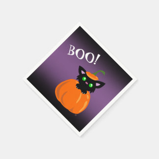 BOO! Cat in a Pumpkin Halloween Paper Napkins