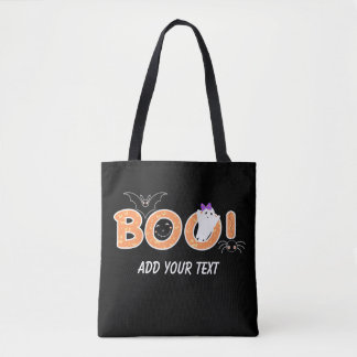 Boo Cute Bat, Ghost and Spider Halloween Costume Tote Bag