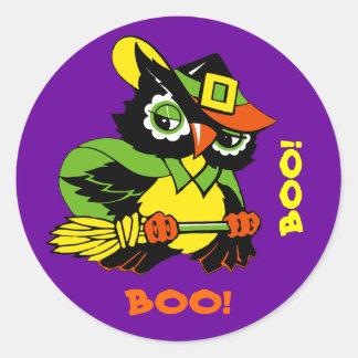 Boo! Funny Owl Halloween Stickers
