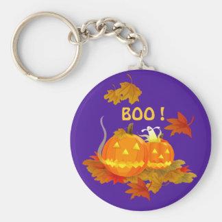 BOO ! Halloween Basic Round Button Key Ring