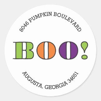 Boo! Round Halloween Return Address Label Round Sticker