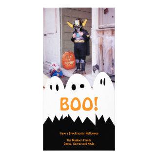 BOO white ghost trio orange Halloween greeting Card