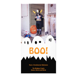 BOO white ghost trio orange Halloween greeting Photo Cards