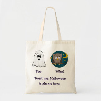 Boo Who Dark Owl Glow Letters Tote Bag