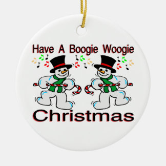 Boogie Woogie Christmas Snowmen Double-Sided Ceramic Round Christmas Ornament