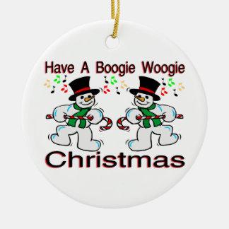 Boogie Woogie Christmas Snowmen Round Ceramic Decoration