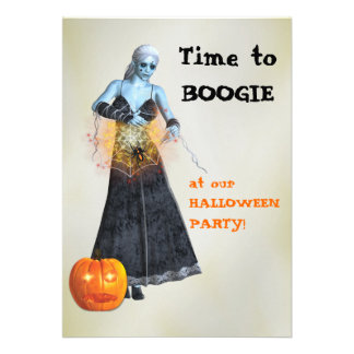 Boogie Zombie Witch Halloween Party Invites