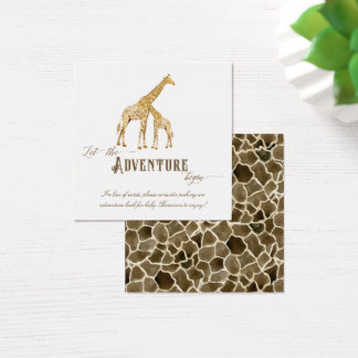 Book Adventure Themed Boy Baby Shower Giraffe Art Square Business Card