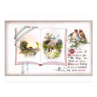 Book & Birds Vintage Birthday Card Postcard