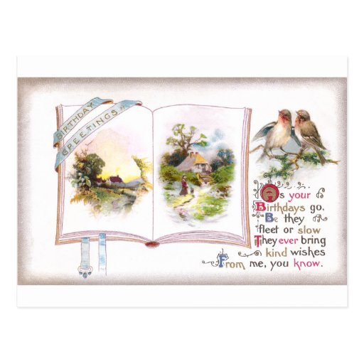 Book & Birds Vintage Birthday Card Postcards