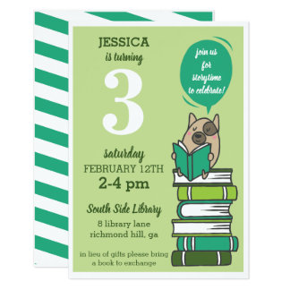 Book Birthday Party Library Green Invitation