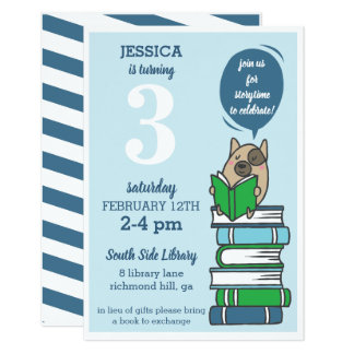 Book Birthday Party Library Reading Invitation
