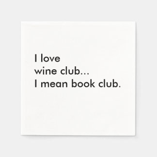 Book Club Cocktail Napkins - I love wine club Disposable Serviette