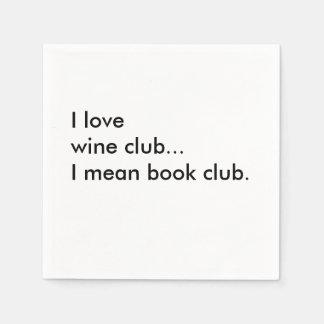 Book Club Cocktail Napkins - I love wine club Paper Napkin