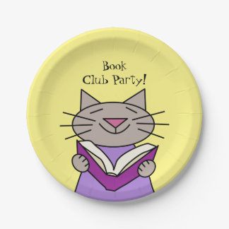 Book Club Party Cat Paper Plate