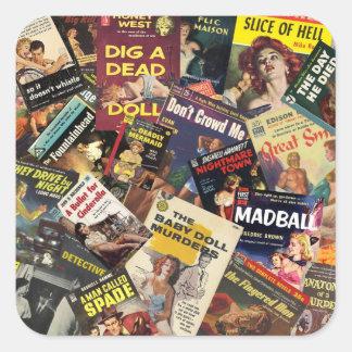 Book Cover Montage Square Sticker