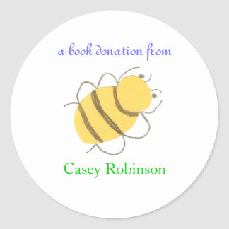Book donation sticker - bee