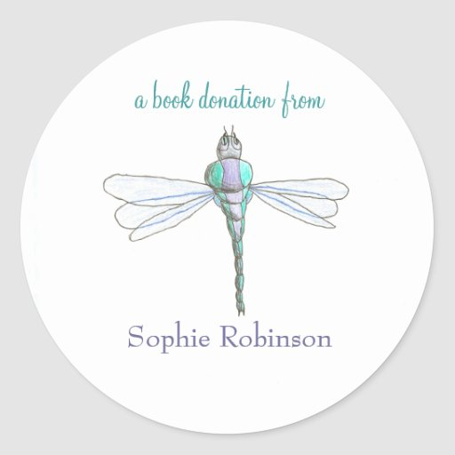 Book donation sticker - dragonfly