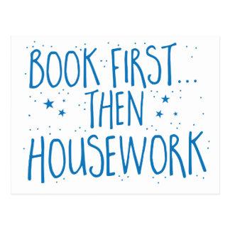 book first then housework postcard