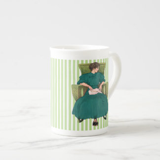 Book Girl in Chair, Teal Green Tea Cup