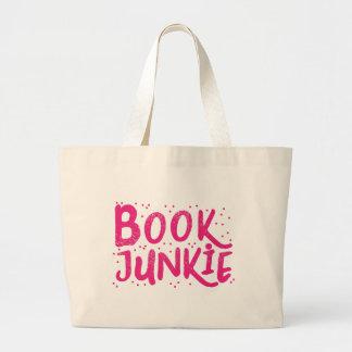 book junkie in pink large tote bag