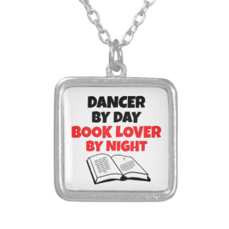 Book Lover Dancer Silver Plated Necklace