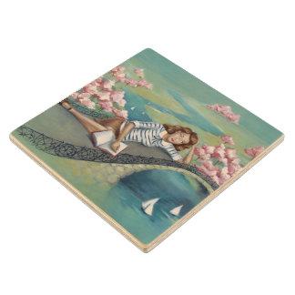 """Book Lover Girl Pastel Wood Coaster"