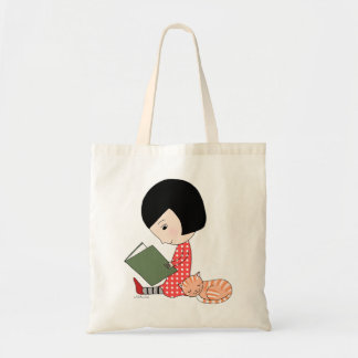 Book Lover Tote Bag Reading book Girl Cat Bookworm