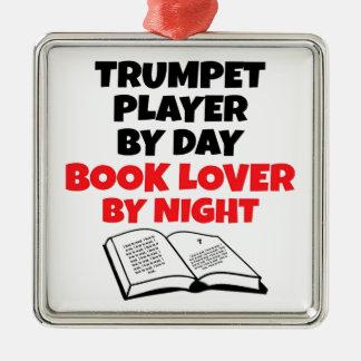 Book Lover Trumpet Player Silver-Colored Square Decoration
