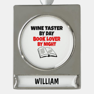 Book Lover Wine Taster Silver Plated Banner Ornament