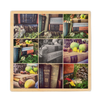 Book Lovers Collage Wood Coaster