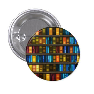 Book Lovers & Librarians Colorful Books on Shelf 3 Cm Round Badge