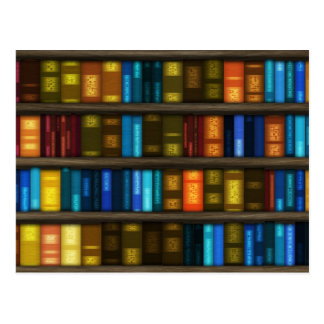 Book Lovers & Librarians Colorful Books on Shelf Postcard
