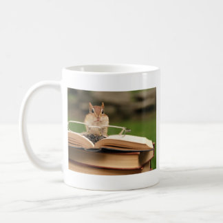 Book loving chipmunk coffee mug