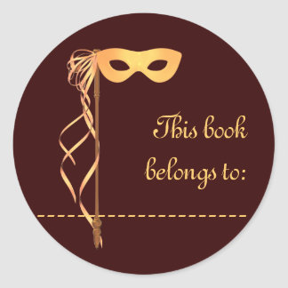 Book Name Sticker (Gold Ribbon Mask)