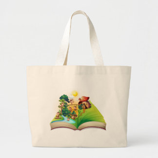 Book of monkeys living by the river large tote bag