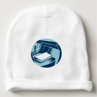 Book On Car Seat Oval Woodcut Baby Beanie