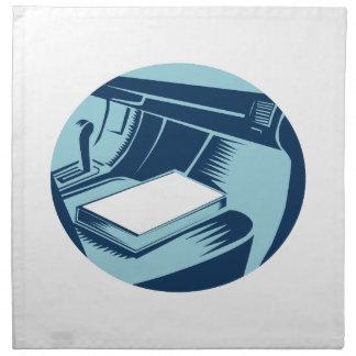 Book On Car Seat Oval Woodcut Napkin