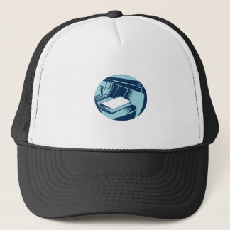 Book On Car Seat Oval Woodcut Trucker Hat
