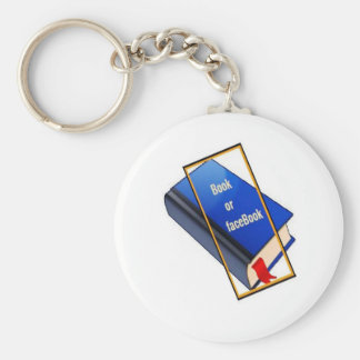 Book or facebook basic round button key ring