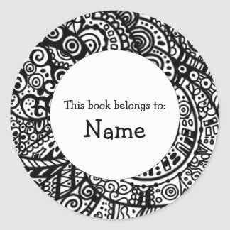 Book plate with doodle art classic round sticker