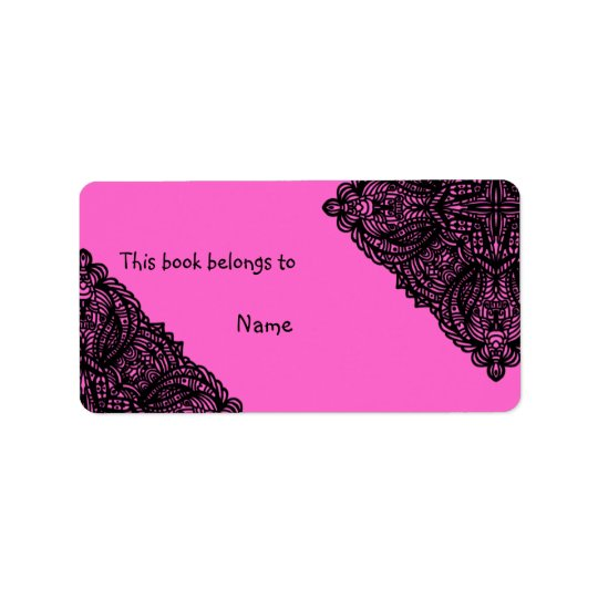 Book plate with doodle design address label