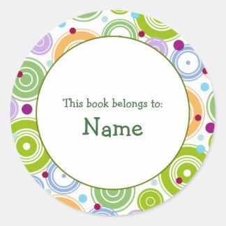 Book plate with retro design - customizable round sticker