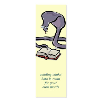 book reading cobra bookmark with your own words Double-Sided mini business cards (Pack of 20)