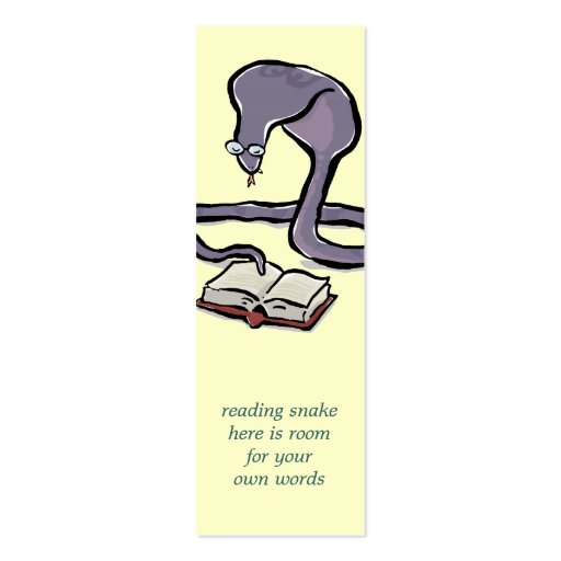 book reading cobra bookmark with your own words business card template