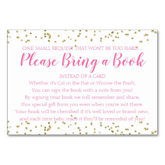 Book Request Gold Confetti Pink Girl Baby Shower Card