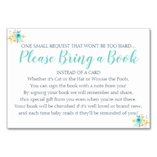 Book Request Gold Teal Floral Baby Shower Card
