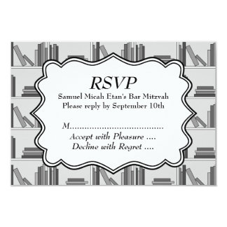 Book Shelf Design Bar Mitzvah Card